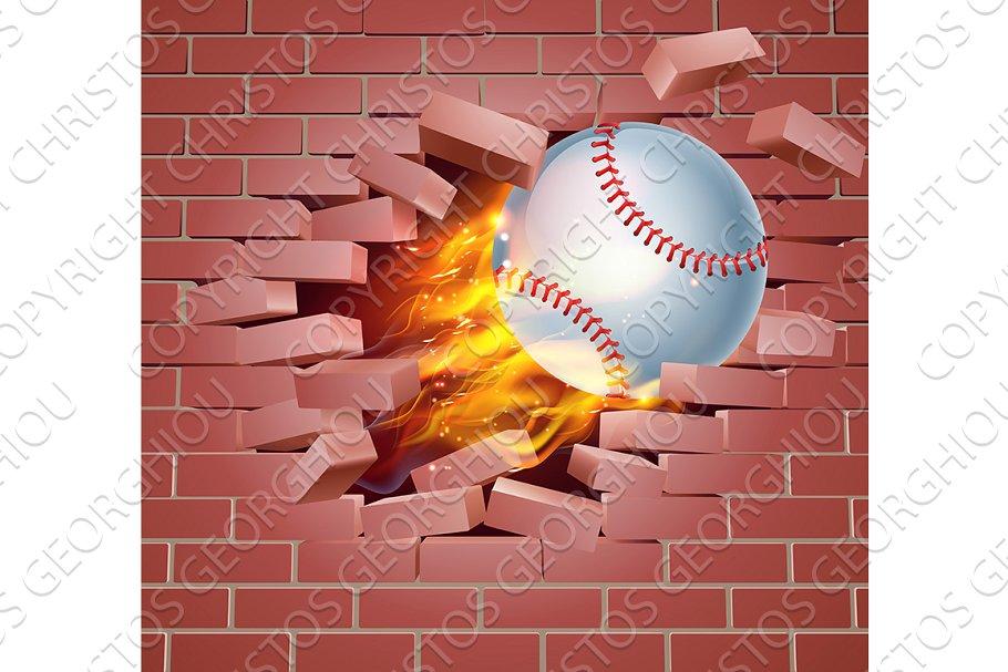 Flaming Baseball Ball Breaking Through Brick Wall.