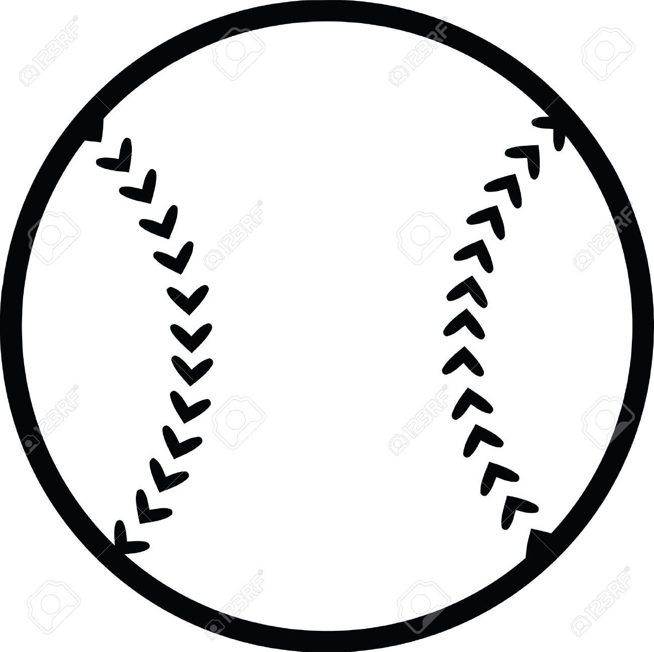 Black and White Baseball Ball Illustration Isolated on white.