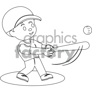 black and white coloring page boy hitting a baseball vector illustration  clipart. Royalty.