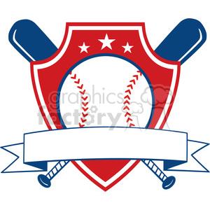Baseball Shield Banner clipart. Royalty.