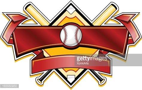 Shiny Baseball banner logo Clipart Image.
