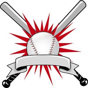 Baseball Clipart Image: Baseball Sports Logo with Two Bats.