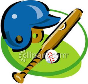 A Baseball Helmet, Bat and Ball.