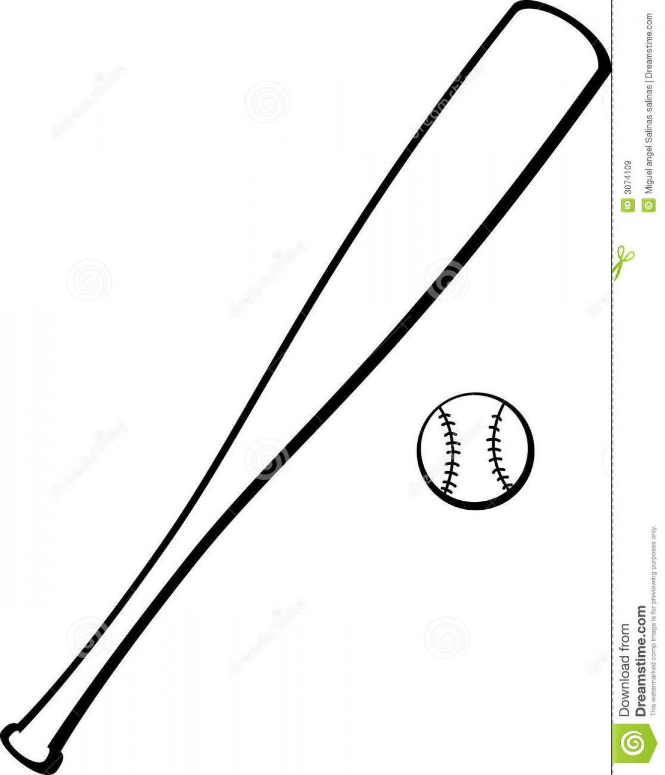 Hd Baseball Bat Outline Clip Art File Free.