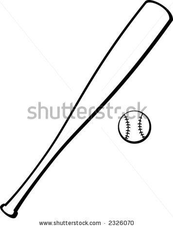 Baseball Bat Black And White Clipart.