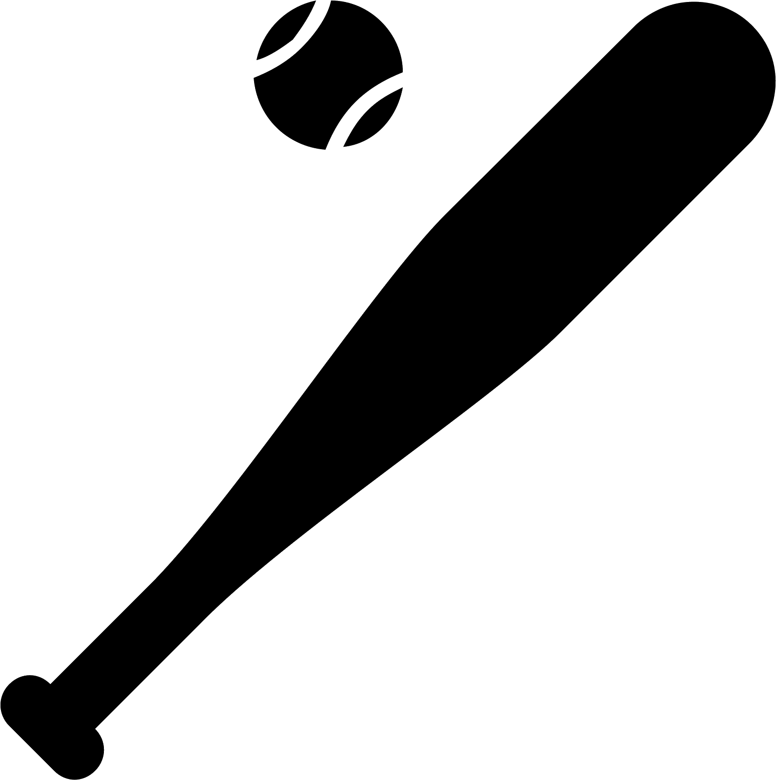 HD Black Clipart Baseball Bat.