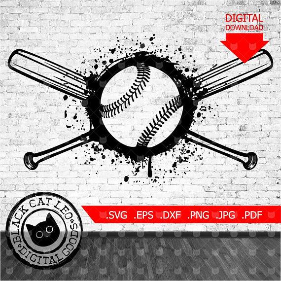 Baseball svg, Baseball ball svg, Baseball bat svg, Grunge.