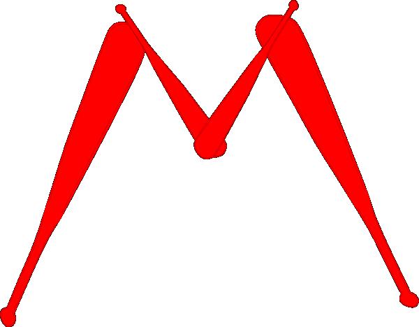 Red M Out Of Baseball Bats Clip Art at Clker.com.