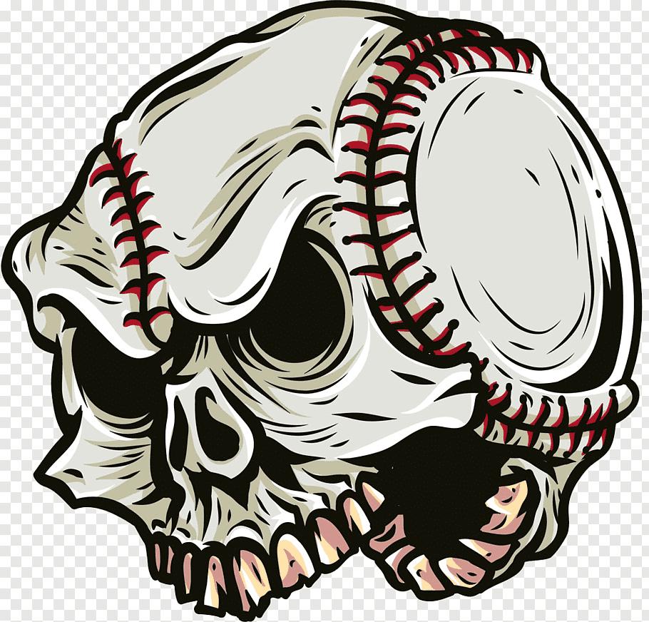 White and black skull illustration, T.