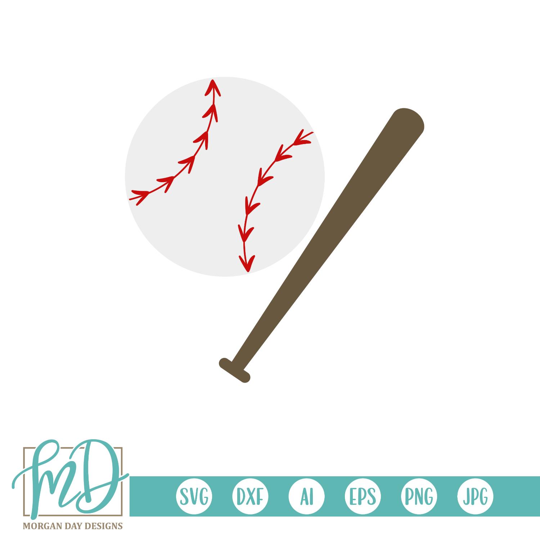 Baseball and Bat SVG.
