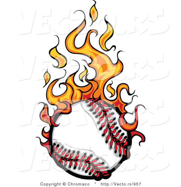 Baseball On Fire Clipart.
