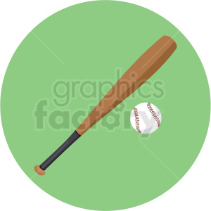 baseball and bat vector clipart on green background . Royalty.