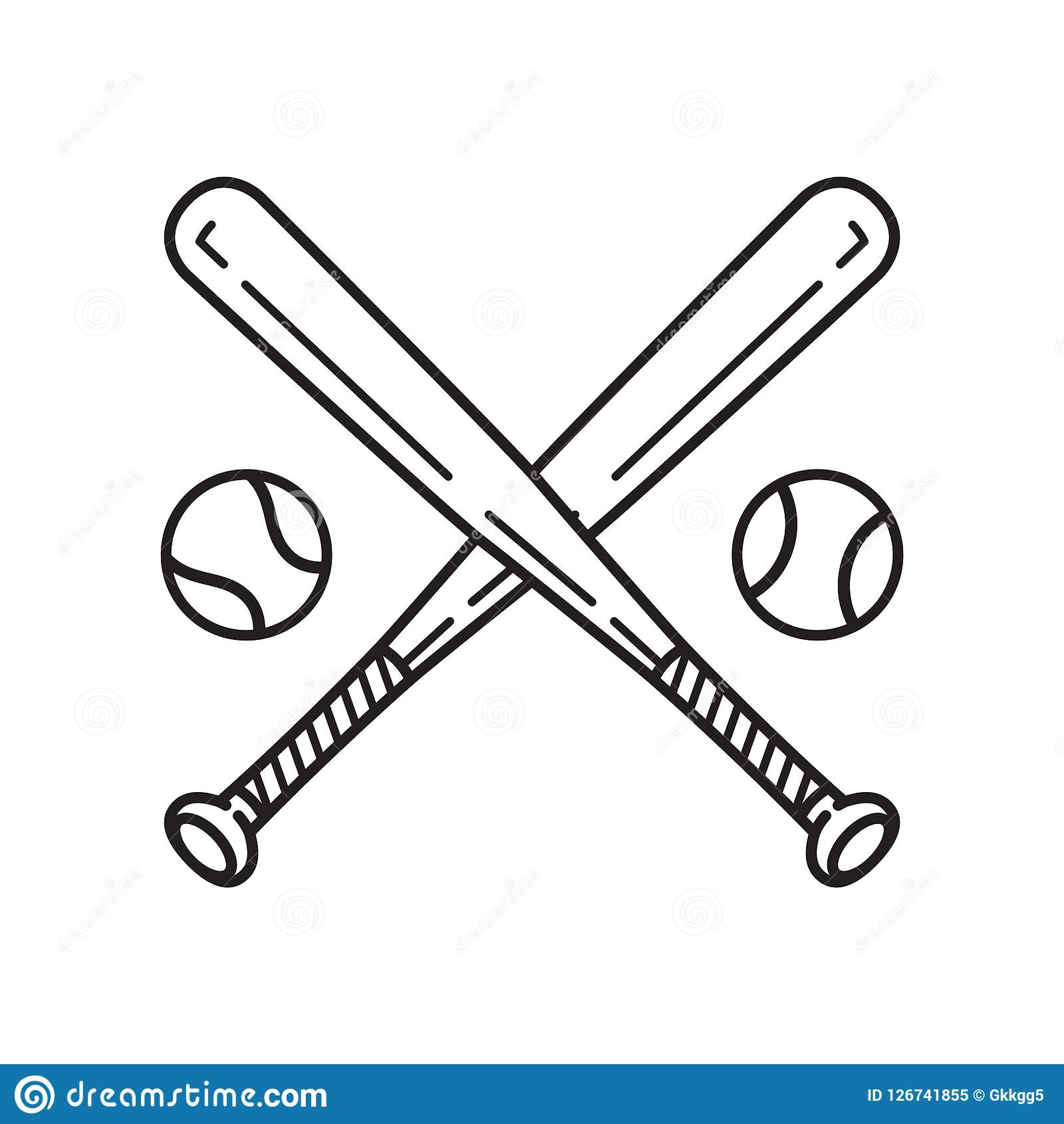 Baseball Vector Icon Logo Baseball Bat Cartoon Illustration Symbol.