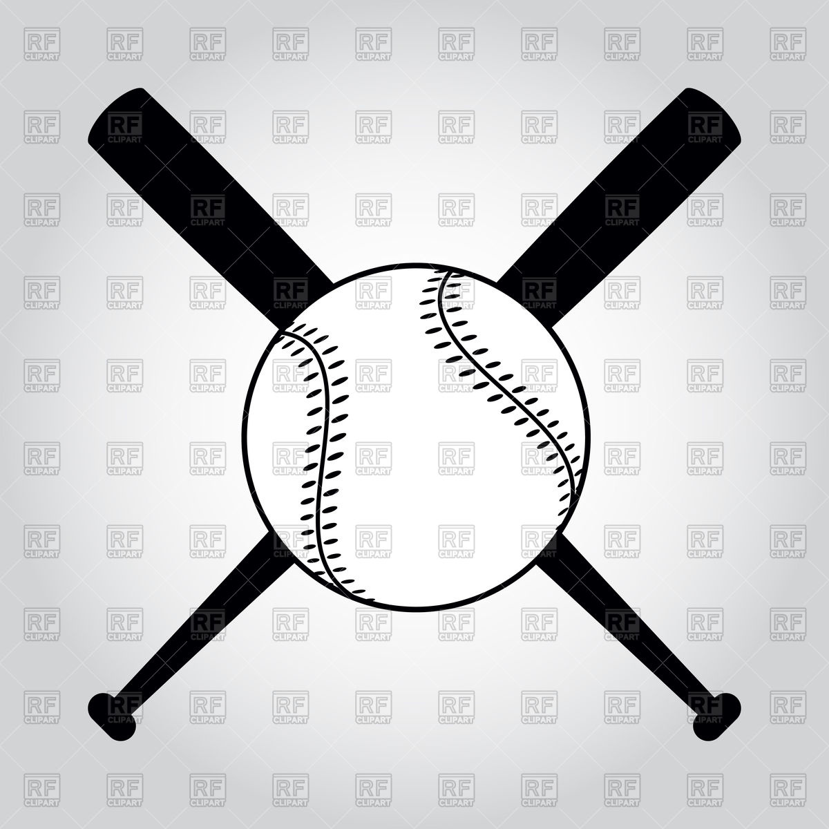 Black and white crossed baseball bats and ball Stock Vector Image.