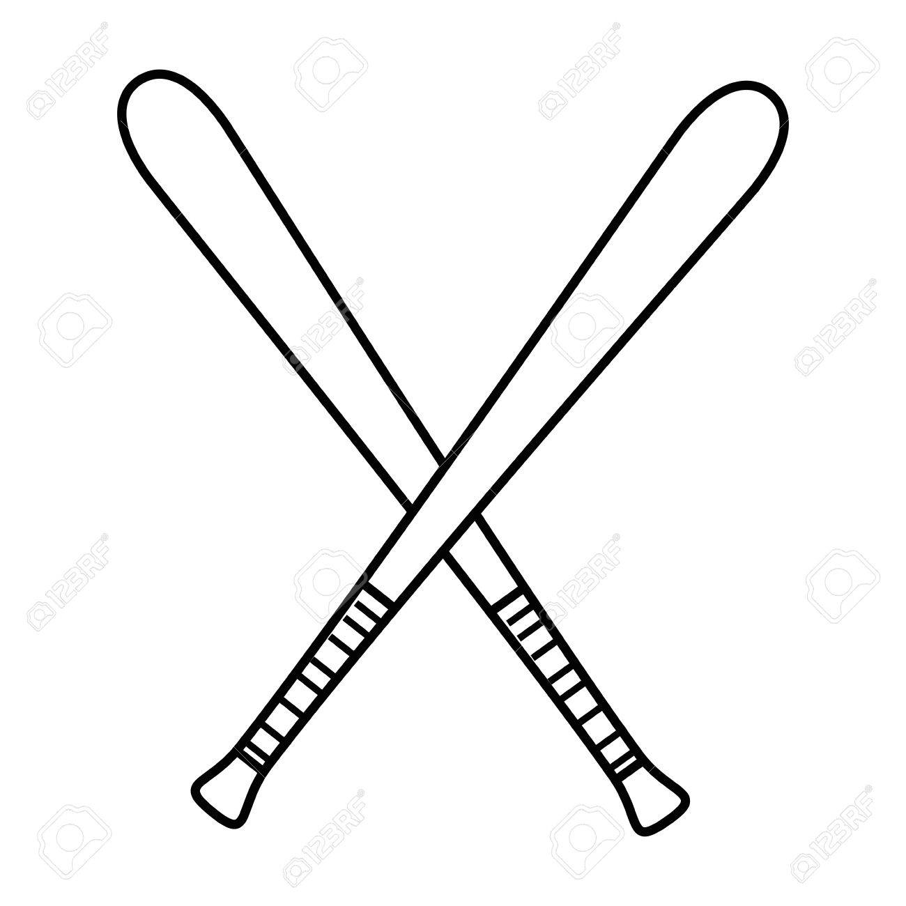 baseball bats crossed icon over white background vector illustration.