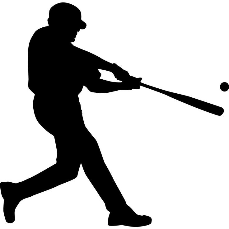 Baseball Player Swinging Bat Silhouette.