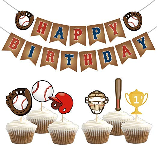 Kreatwow Baseball Birthday Party Supplies Baseball Happy Birthday Bunting  Banner Cupcake Toppers for Kids Baseball Sports Party Decorations.