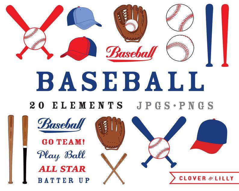 Baseball clipart mitt, baseballs, bats, hats, clip art images, birthday  party INSTANT DOWNLOAD.