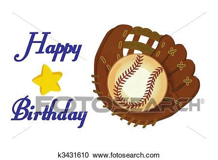 Baseball Glove Ball happy birthday Illustration stock Photo Clipart.