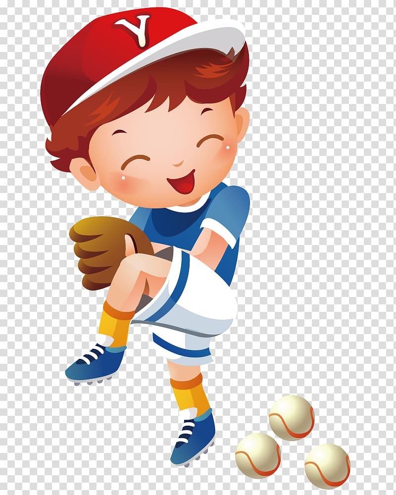 Boy wearing red hat and brown baseball mitt , Baseball.