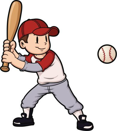Cartoon boy playing baseball. Baseball and character on.