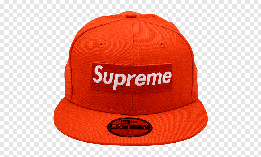 Red Supreme X New Era flat brim cap, New Era Cap Company Hat.