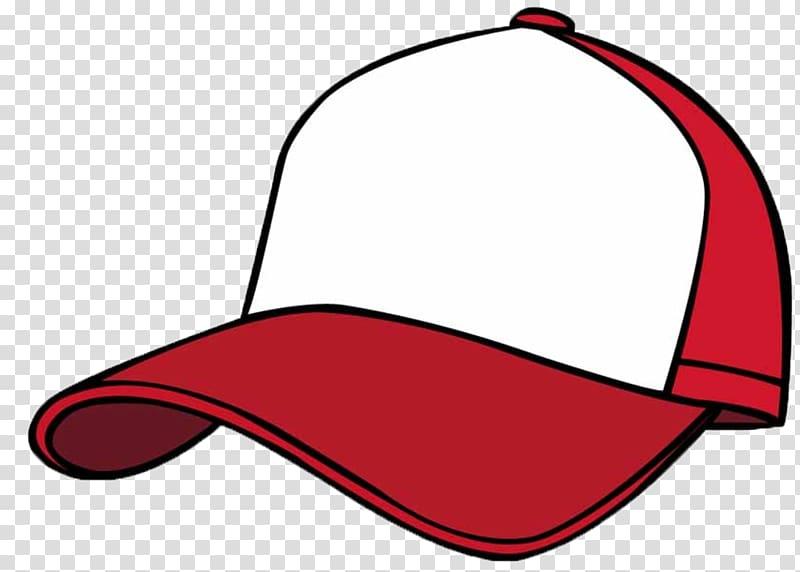 Red and white baseball cap, Baseball cap Cartoon, Cartoon.