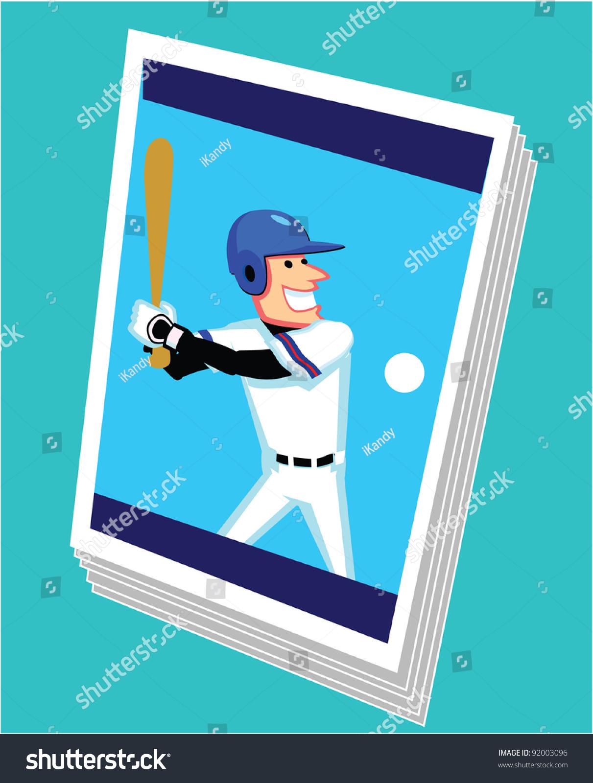 Baseball Card Cartoon Stock Vector (Royalty Free) 92003096.