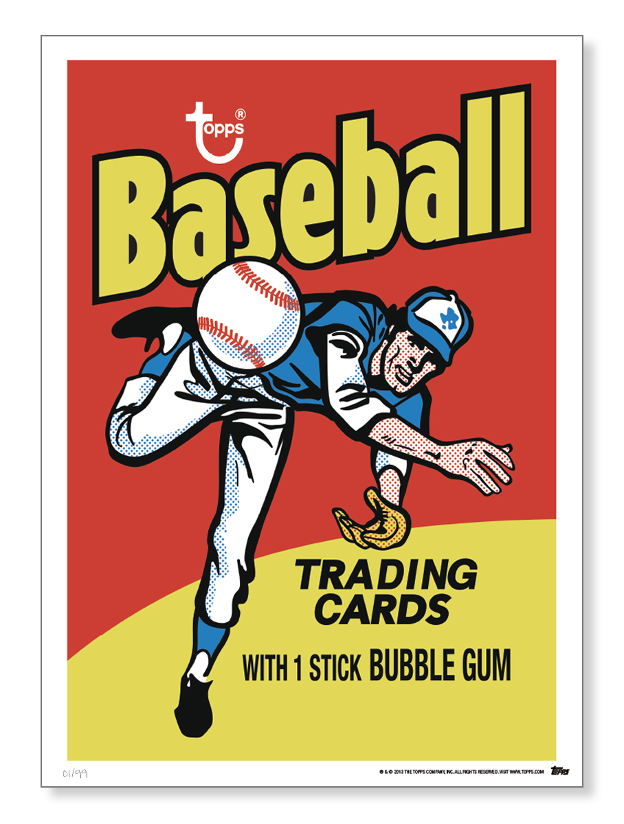 Topps adds vintage baseball card wrappers to its wall art offerings.