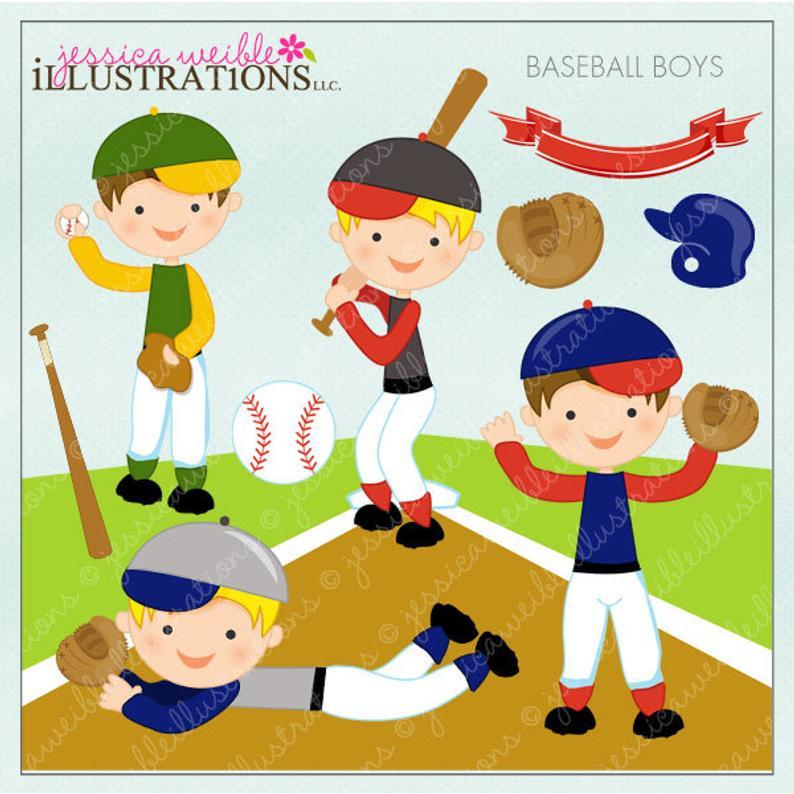 Baseball Boys Cute Digital Clipart for Card Design, Scrapbooking, and Web  Design.