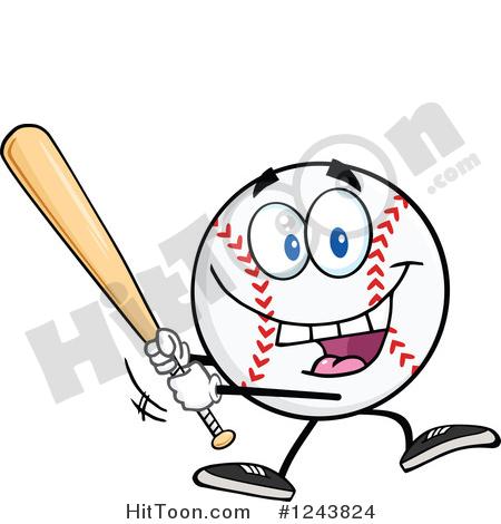 Baseball Clipart #1243824: Cartoon Baseball Character Batting by.