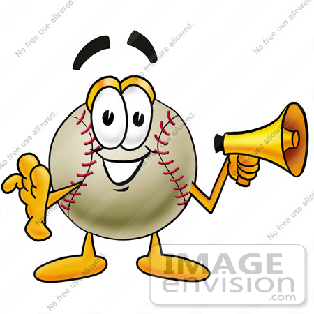 Clip art Graphic of a Baseball Cartoon Character Screaming Into a.