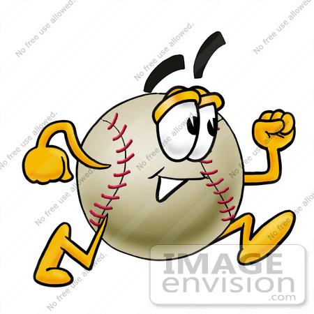 Clip art Graphic of a Baseball Cartoon Character Running.