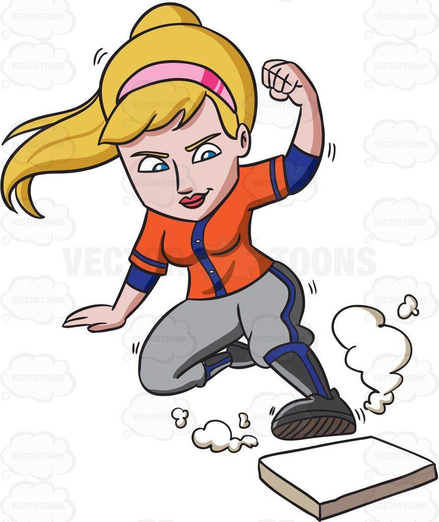 A female baseball player slides toward the base #cartoon.