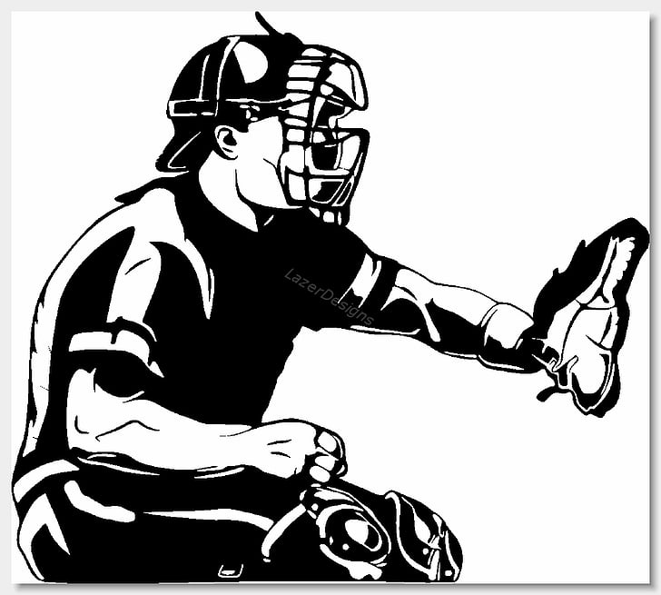 Baseball Catcher Black and white , Baseball Clips PNG.