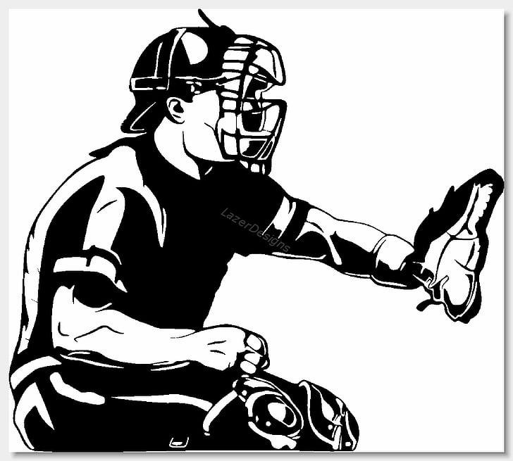Baseball Catcher Black and white , Baseball Clips PNG.