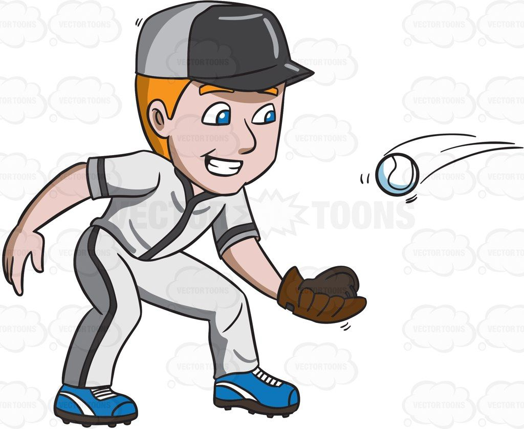 A baseball player happily catches a ball #cartoon #clipart #vector.