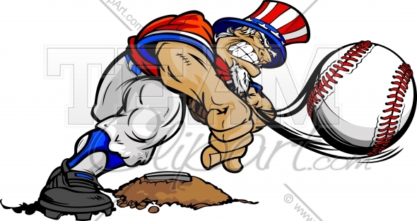 Uncle Sam Baseball Clipart Image. Easy to Edit Vector Format..