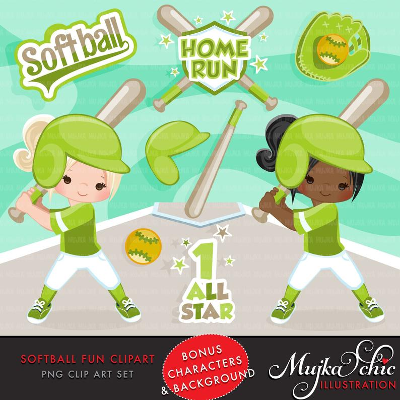 Softball Clipart. Green Softball graphics, baseball players, baseball game  illustrations, school activity, home run, african american.