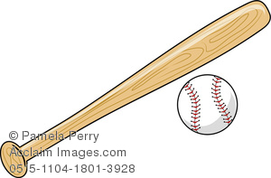 Clip Art Image of a Baseball Bat and Baseball.