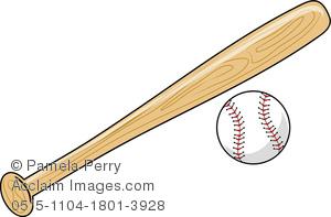 Clip Art Image of a Baseball Bat and Baseball.