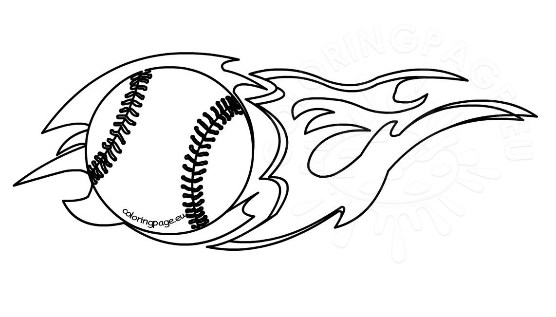 Flaming baseball clipart black and white.
