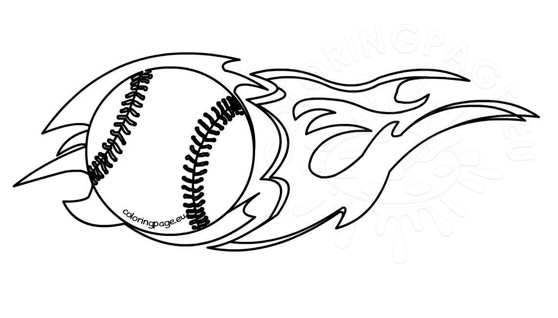 Flaming baseball clipart black and white.