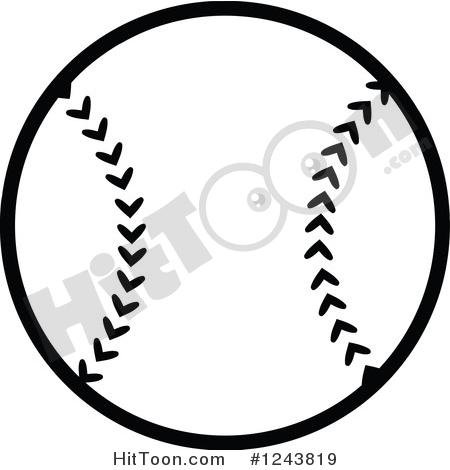 Baseball Clipart #1243819: Black and White Baseball by Hit Toon.