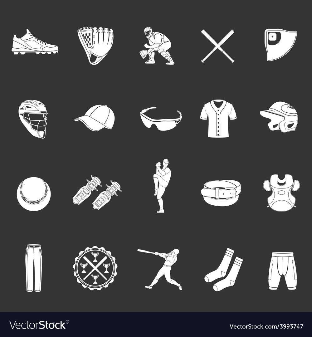 Set of icons of baseball on a dark background.