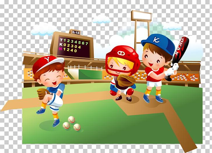 Baseball field Cartoon Child, baseball kids, three child.