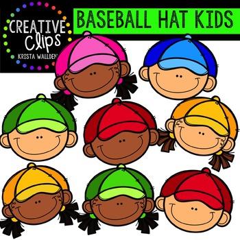 {FREE} Baseball Hat Kids {Creative Clips Digital Clipart}.