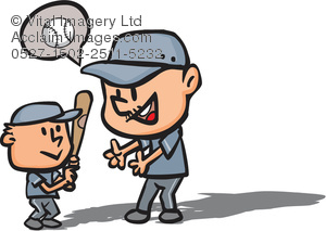 Clipart Illustration of a Man Talking to a Boy About Baseball.