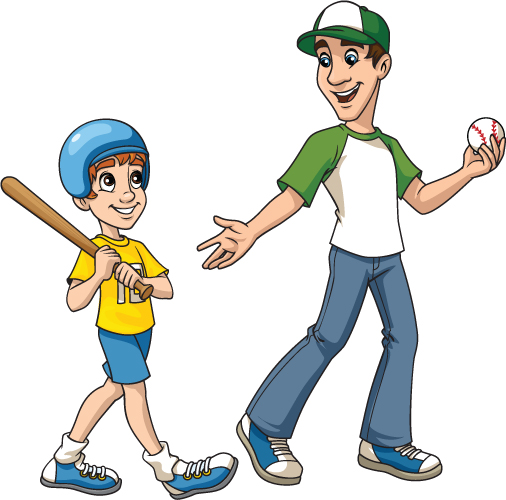 Baseball Coach and Boy.