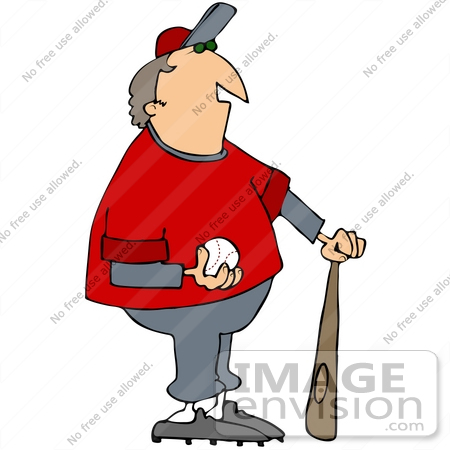 Clip Art Graphic of a Baseball Coach With A Ball And Bat.